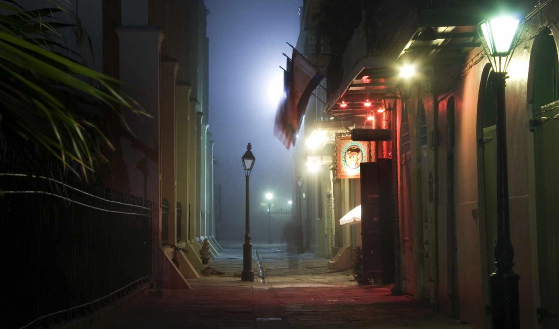 улица, lantern, ночь, картинка, фонарями, узкая,