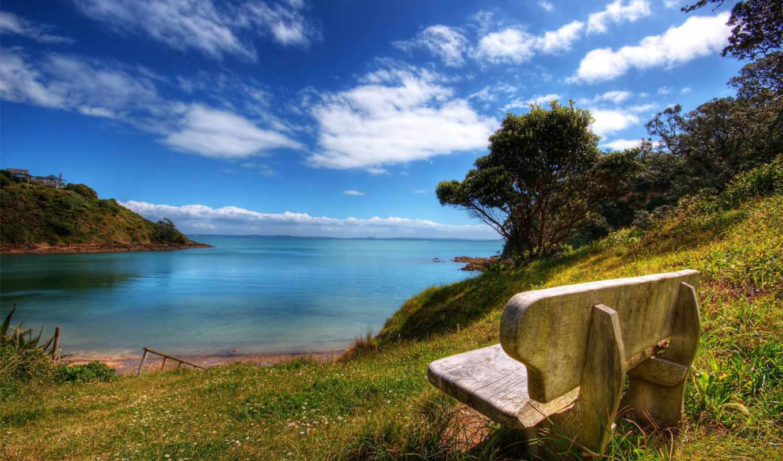 скамейка, nature, моря, desktop, песок, небо, море, resolution,