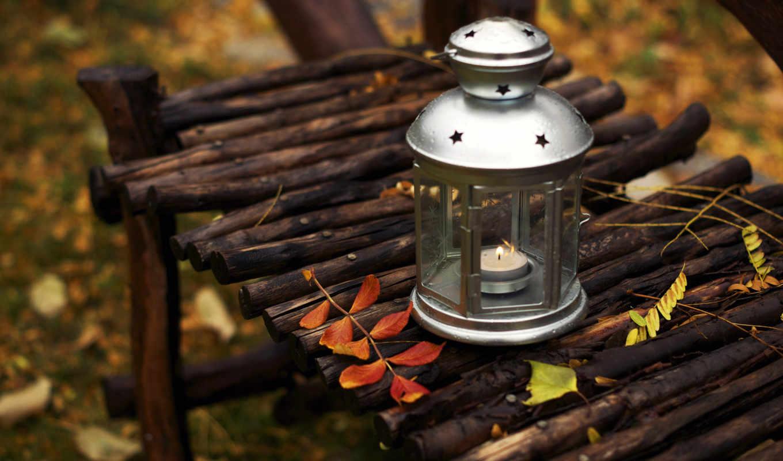 фонарь, икея, свеча, лавка, листья,