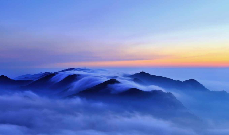 туман, облака, холмы, горы, картинка, картинку,