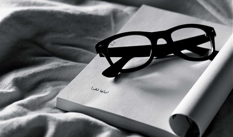 очки, белое, ткань, чёрное, разное, тетрадь, чёрно, дек,