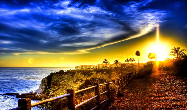 дорога, more, побережье, здания, океан, пальмы, забор,