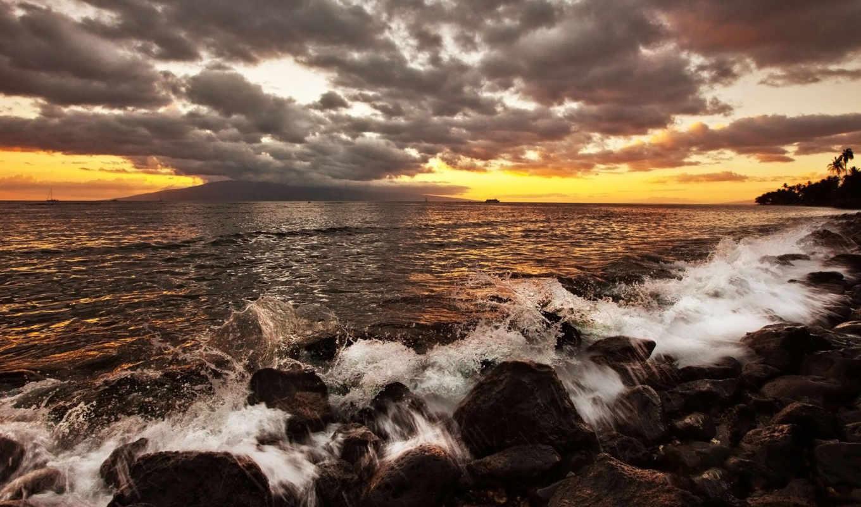 ,закат, море, камни, небо, выберите, тучи, landscape, природа,