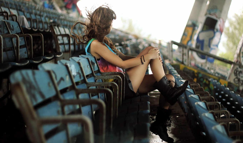 стадион, девушка, настроение,