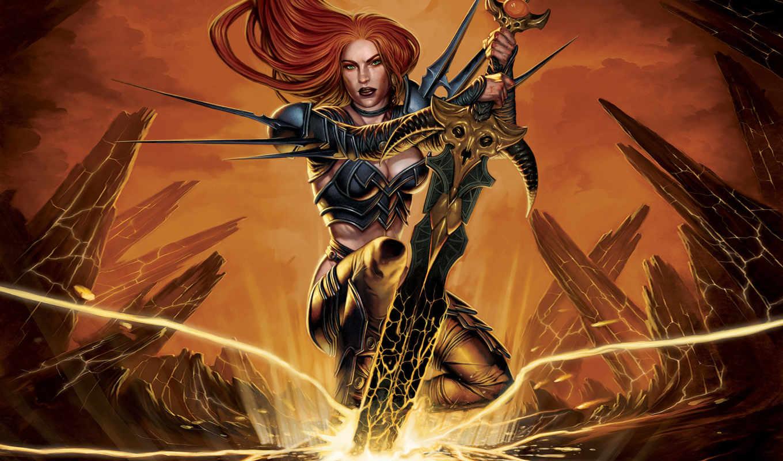 dungeon, осадный, broken, world, меч, девушка,