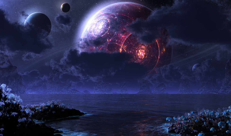 планеты, обои, ночь, фэнтези, луна, море, moon, ph