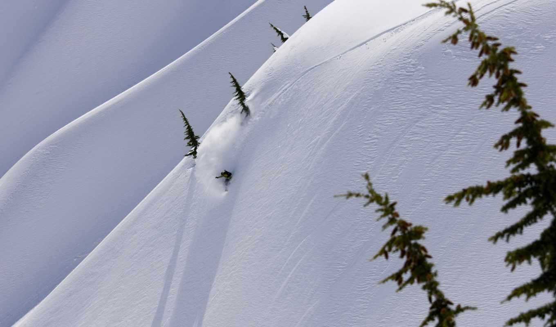 сноуборд, снег, зима, горы, snowb, mountains, елки, спуск,