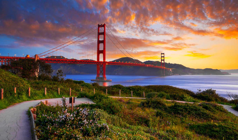 мост, только, горы, красивые, заставки, ежедневно, сша, закат,