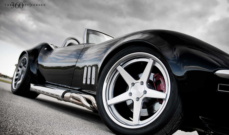 corvette, wheels, chevy, forged, black, кабриолет, side, car, left, custom,