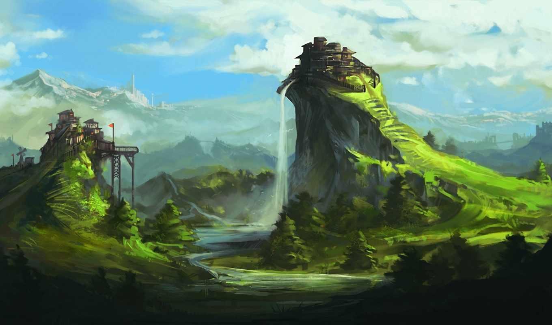 art, landscape, фантастика, горы, водопад, дек,