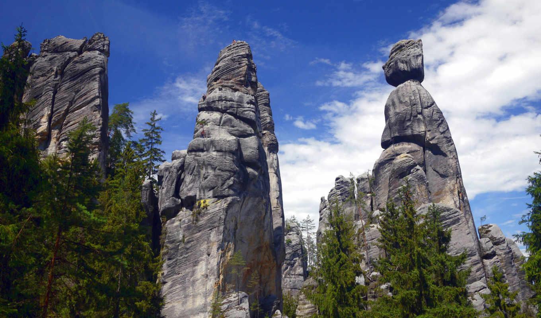 rock, rocks, теплице, adrspach, tags, mountains, чехия, adršpach, trees, town, камень,