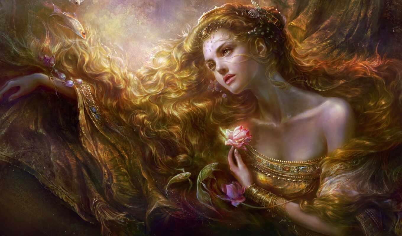 девушка, волосы, цветы, art, rongrong, украшения, wang, pisces,