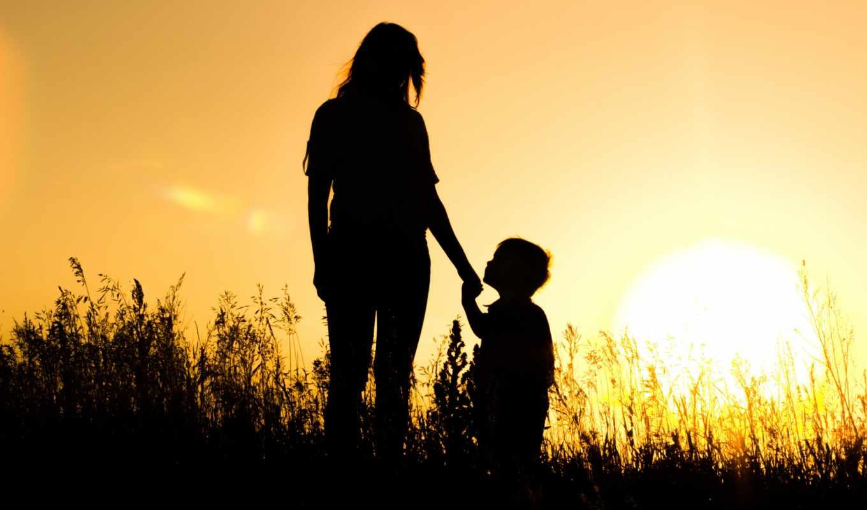 мама, son, силуэты, sun, закат, картинка,
