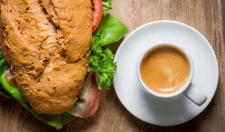 coffee, бутерброд, завтрак, cvety, cup,