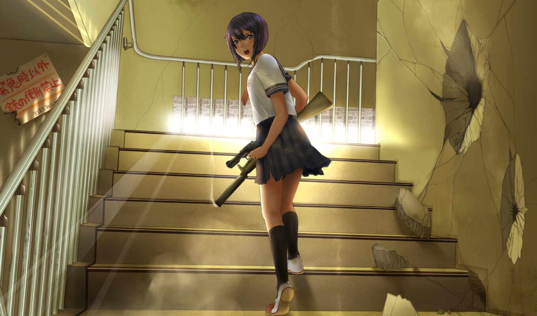 аниме, оружие, девушка, школьница, обои, лестнице,