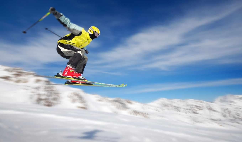 лыжник, снег, лыжи, спорт, прыжок, трамплин, полете, gandex, совершенно, skiing, горы, полет, картинка, категория, экстрим, image,