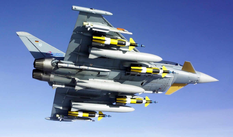 eurofighter, typhoon, aircraft, истребитель, снизу, ракеты, вооружение, вид, plane,
