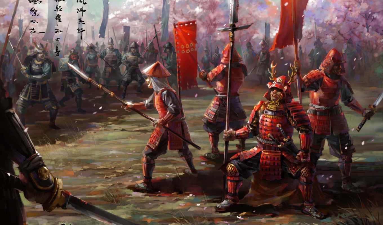 самураи, оружие, арт, армия, широкоформатные, азия, войско, меч, броня,