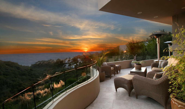 природа, закат, рассвет, горизорт, рассветы, закаты, balcony, lüks, интерьер,