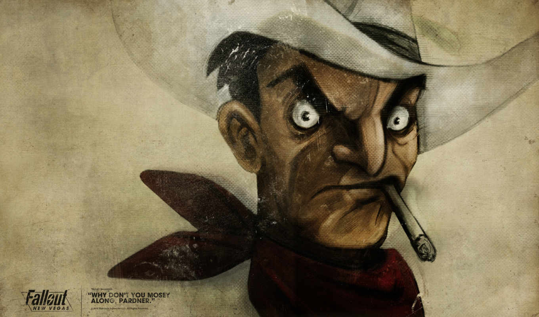 fallout, new, vegas, шляпа, ковбой, сигарета,