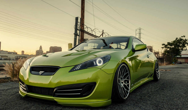 cars, авто, genesis, машина, stance, hyundai, car, зелёный,