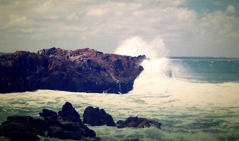 море, камни, waves, небо, скалы, вечер, брызги, спина, пейзажи -,