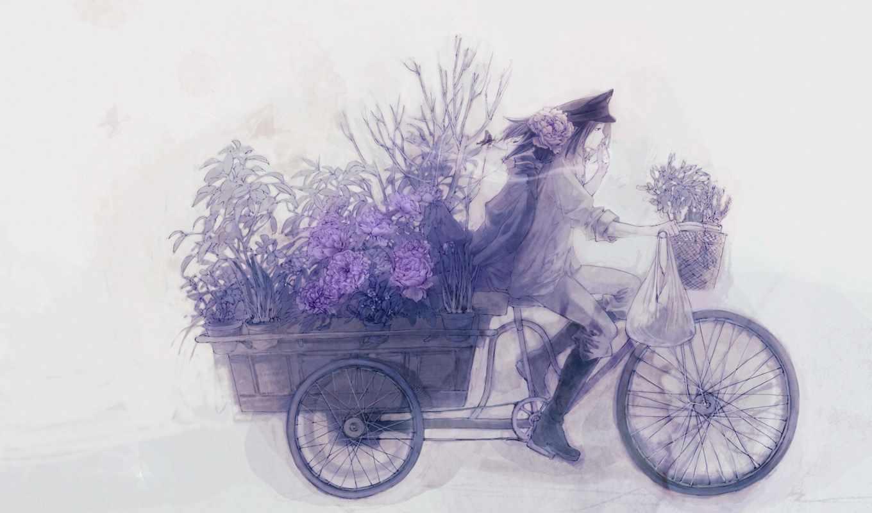 bike, парень, девушка, закат, anime, повозка, велосипеде, букет, cvety,
