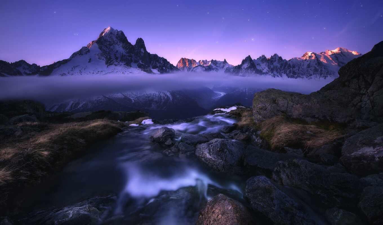 гора, река, озеро, камень, природа, фон, облако, красивый, туман, сумерки