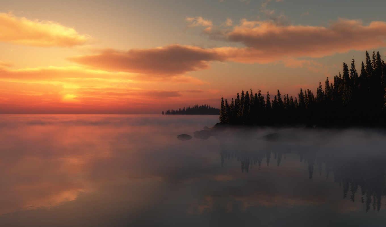 озеро, деревья, закат, für, номером,