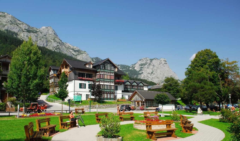 австрия, штирия, дома, горы, небо, town, грундльзе,