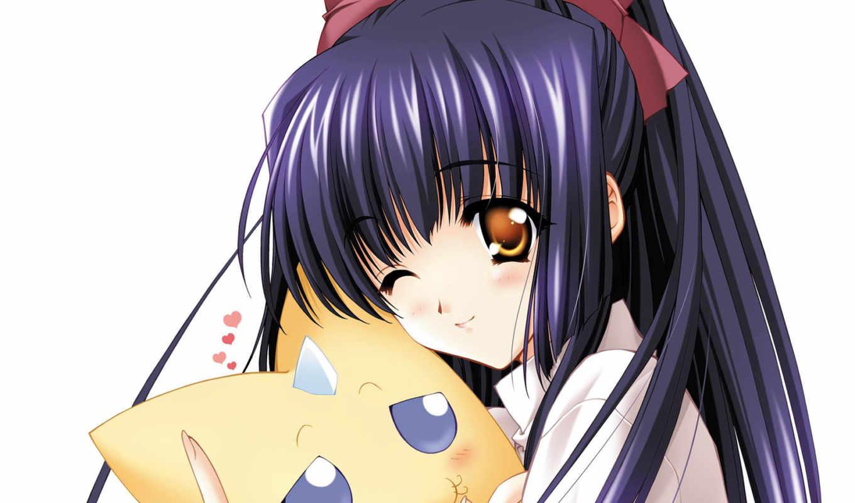 anime, девушка, sweetheart, зверек,