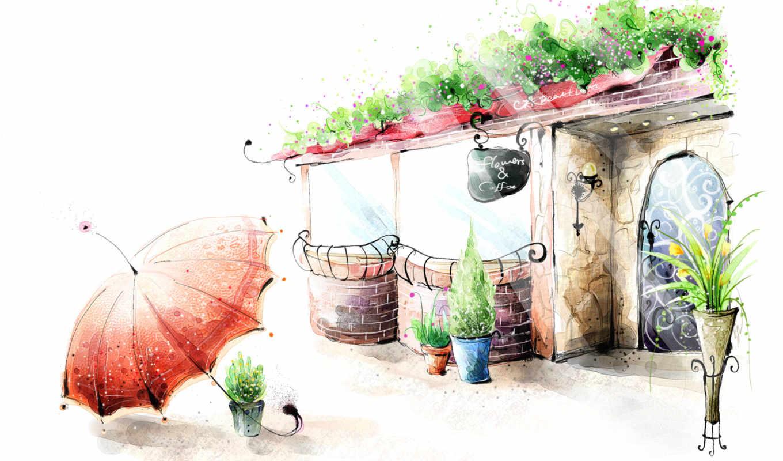 рисунок, цветы, кафе, ваза, горшки, зонтик, перила, lantern, вазы, картинка, дверь,