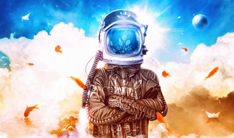 космонавт, небо, шлем, oblaka, positive, click, desktopography, one, рыбки, астронавт, cosmos,