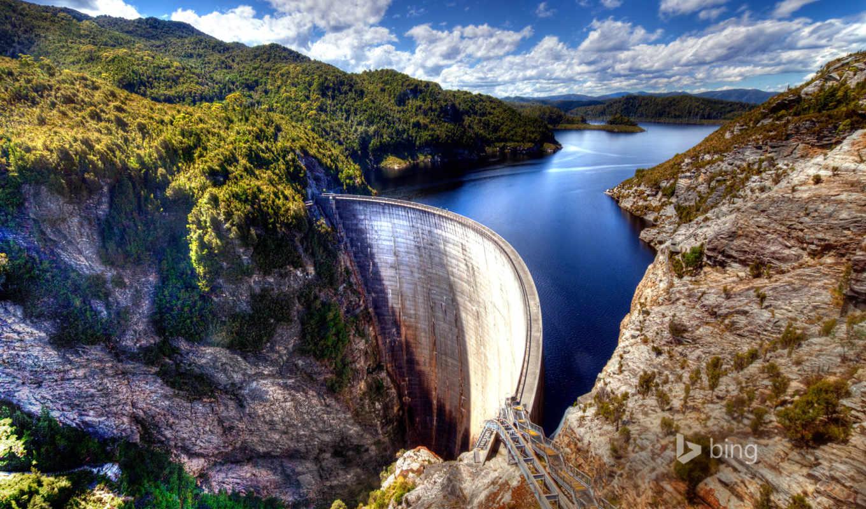 австралия, tasmania, пейзажи -, dam, gordon, prints, озеро,