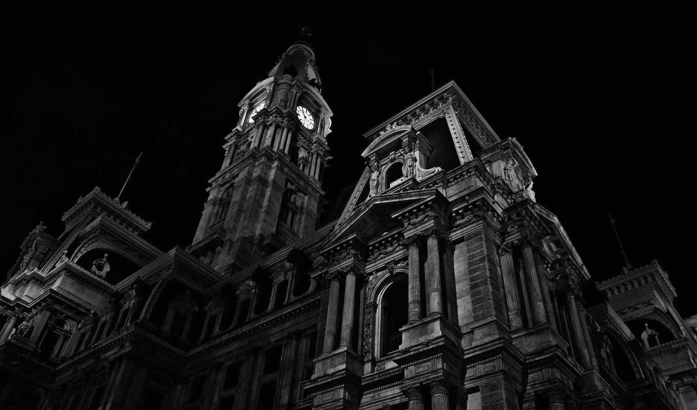 ночь, белая, чёрно, города, architecture, pennsylvania, house, сумерки, dark,