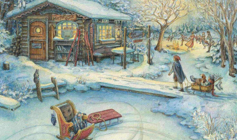 kim, jacobs, деревня, дети, санки, домик, праздник, новый,