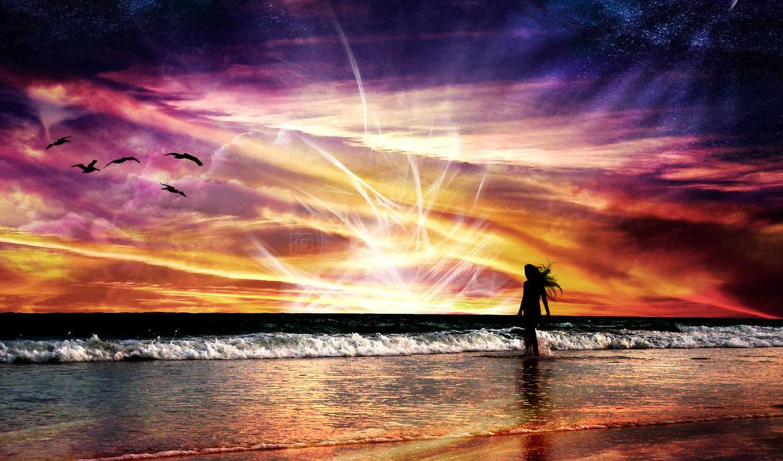 купаясь, рисованное, лучах, природа, desktop, mix, море, girl, beach, великолепных, сборник,
