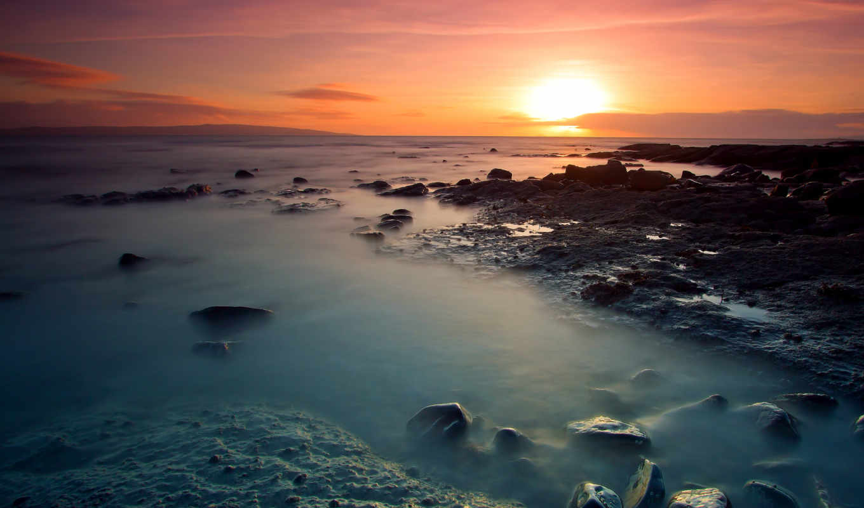 океан, море, камни, побережье, берег, солнце, вечер, закат, оранжевый, небо,