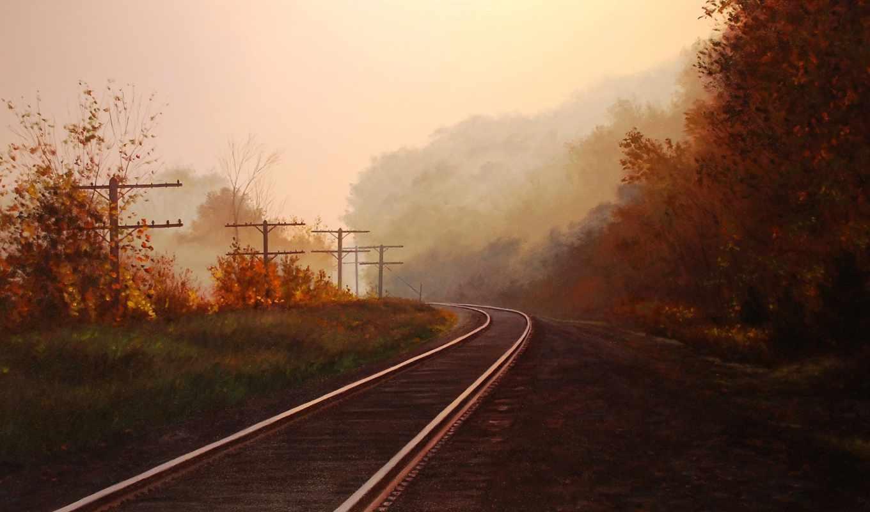 рельсы, landscape, trance, осень, красивые,