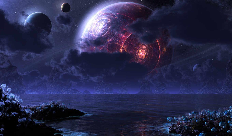 море, ночь, луна, планеты, digital, phraxis,