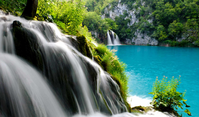 водопад, плитвицкие, national, флот, озера, планшетный, природа,