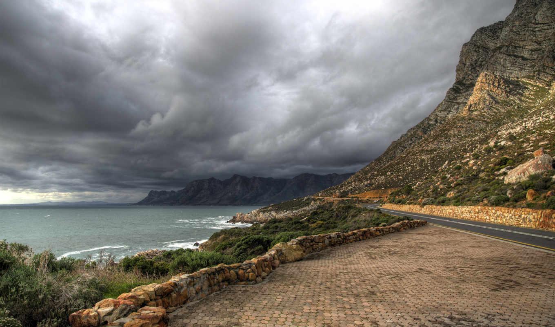 дорога, горы, oblaka, landscape, трава,