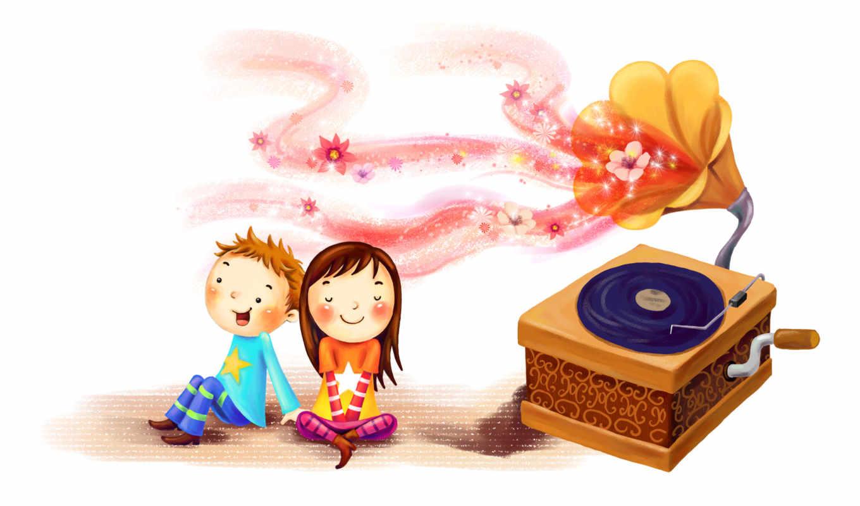 нарисованные, дети, мальчик, девочка, музыка, граммпластинка, патефон, цветы, волны