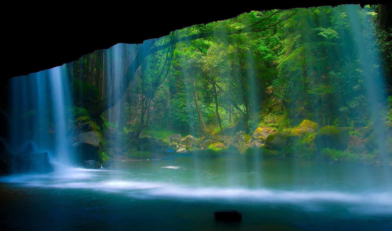 водопад, лес, природа, река, cliff, взгляд,