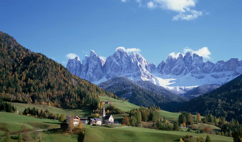 горы, луга, деревня, пейзажи -, вершины, winter, деревья, дома, взгляд,