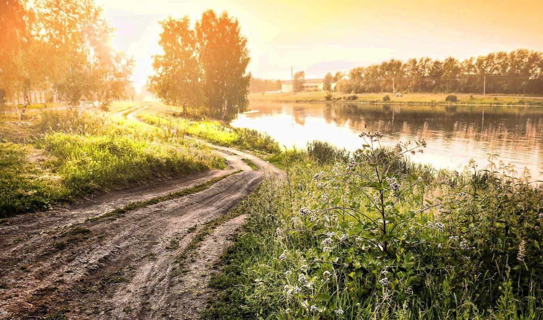 ,закат, вечер, природа, вода, зеро, дорога, грунтовка, лопух, трава, свет, туман