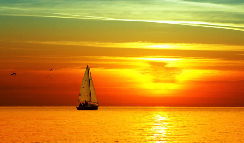 море, яхта, sail, высоком,