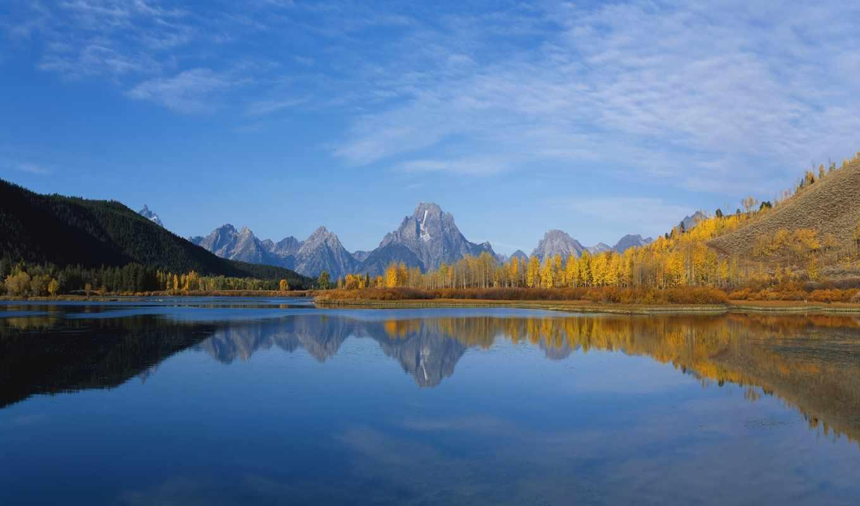 февр, небо, горы, картинку, горизонт, скалы, гладь, леса, идеально, отражение, водная,