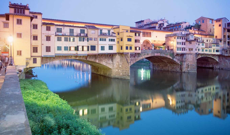 florence, город, мост, tuscany, италии, ponte,
