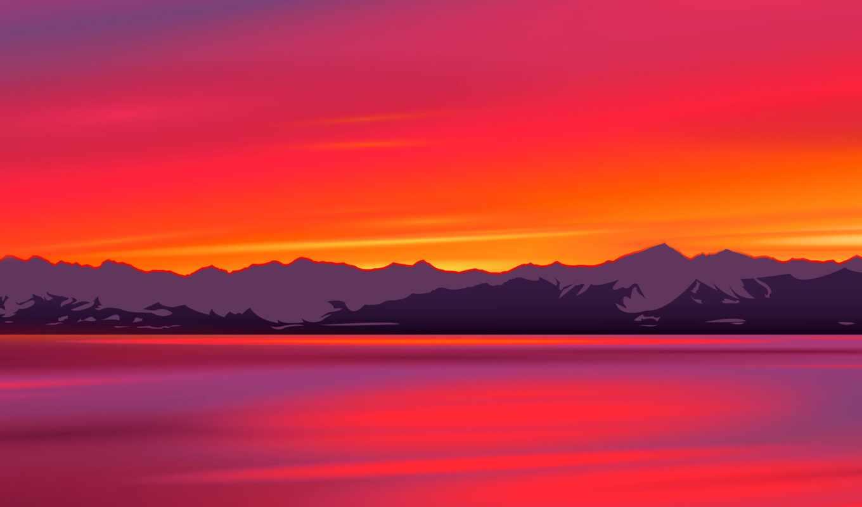 закат, река, краска, гора, acrylic